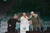 Губернатор Андрей Травников и президент, председатель правления Сбербанка Герман Греф открыли фонтан в ЦПКиО